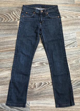 Красивые темно синие хлопковые джинсы брюки штаны от gina tricot jeans