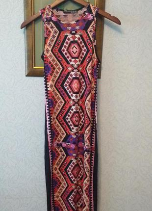 Трикотажное платье с этно узором вискоза