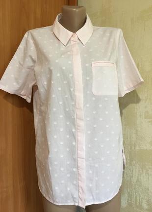 Тонкая пудровая рубашка,100%хлопок