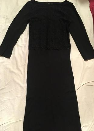 Чёрное бандажное ажурное платье zara миди