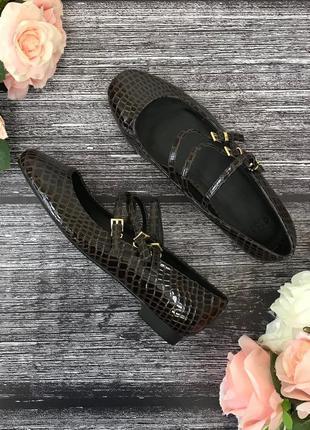 Балетки с округлыми носками под кожу крокодила asos   sh1816328