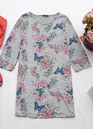 Трикотажное платье-туника прямого кроя в принт с рукавом 3/4 george 16uk