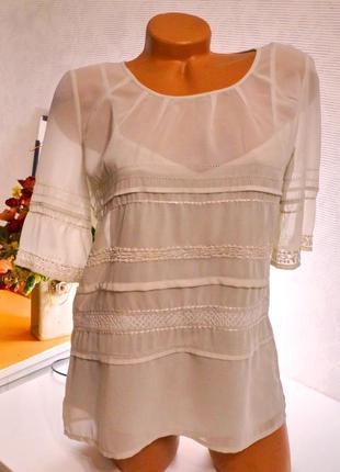 Блуза шифоновая нюд, двойная,брендовые вещи, обувь в летней распродаже! 2 вещь-50%