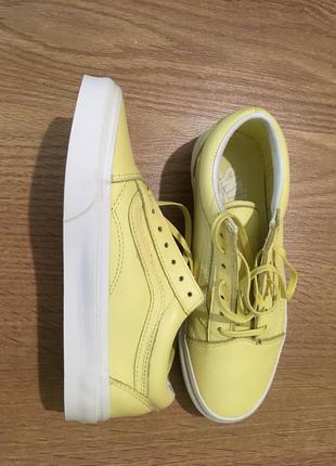 Кеды vans old skool pastel mono пастельно-желтые кожаные