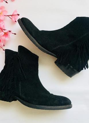 Итальянские ботинки / полуботинки giga натуральный замш / замшевые  с бахромой /