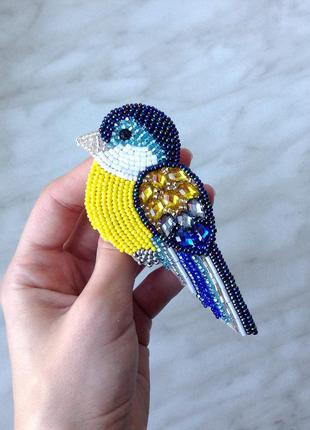 Брошка птичка, брошка синичка, брошь из бисера птица