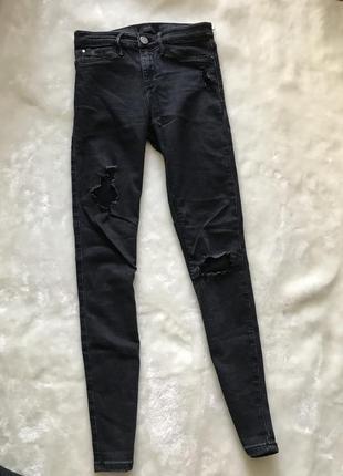 Черные рваные джинсы с высокой посадкой от river island