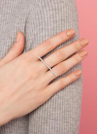 Оригинальное кольцо кастет из белого стерлингового серебра с 21 куб. цирконом