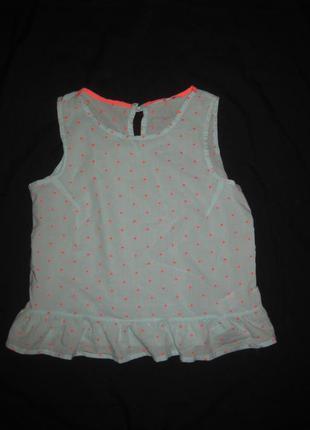 10-14 лет, нежная мятная бирюзовая майка блузка в яркую точечку