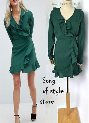 Asos женское зелёное платье мини с запахом и оборками