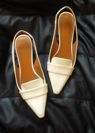 Стильные кожаные брендовые туфли босоножки мюли лоферы tory burch италия оригинал