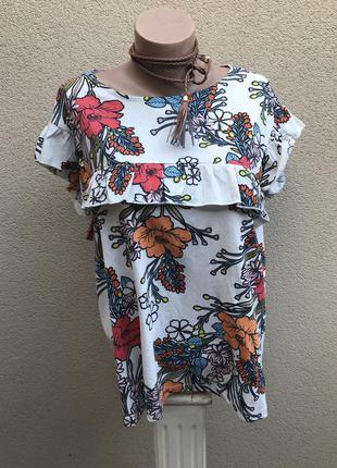 Новая блуза,футболка с рюшами,воланами,цветочный принт,хлопок,большой размер