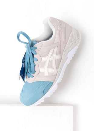 Оригинальные замшевые кроссовки серо голубого цвета asics gel ( 38-39)