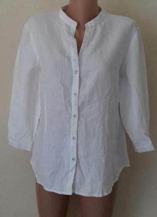Льняная блуза-рубашка большого размера