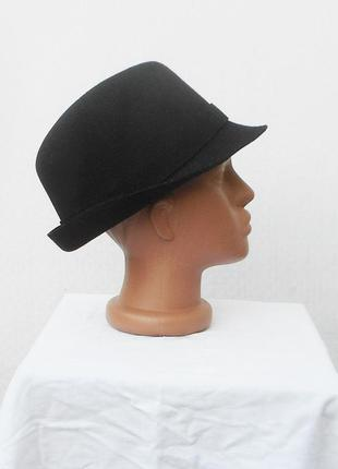 Черная новая классическая  шерстяная шляпа федора