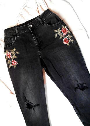 Джинсы мом мам момсы mom fit jeans мамсы мамины винтажные джинсы с вышивкой