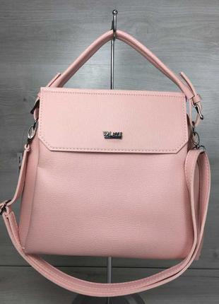 Розовая летняя молодежная сумка с ручкой и ремешком через плечо