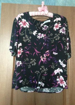 Шикарная черная блуза с принтом гербарий marks&spencer р.12  l