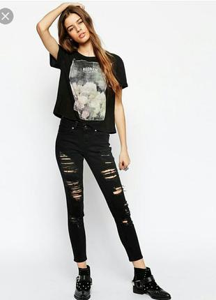 Черные рванные джинсы скинни