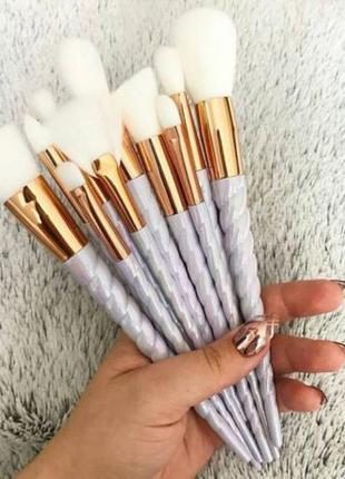 Набор для макияжа 10 милых нежных кистей с ручками в виде рога единорога