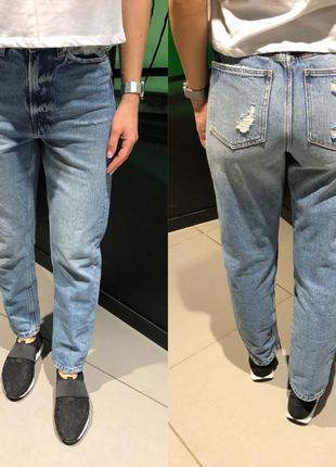 Джинсы cropp рваные синие джинсы бойфренд xs-xl