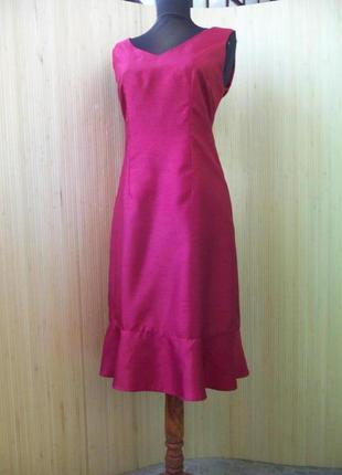 Французское платье футляр с баской affinités цвета марсала s/m