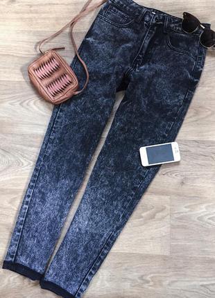 Черные графитовые джинсы мом zara / серые варенки с высокой посадкой / штаны / брюки