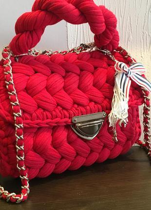 Красная сумка тренд зефирка на длинной и короткой ручке