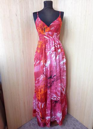 Летнее длинное платье сарафан тонкий хлопок
