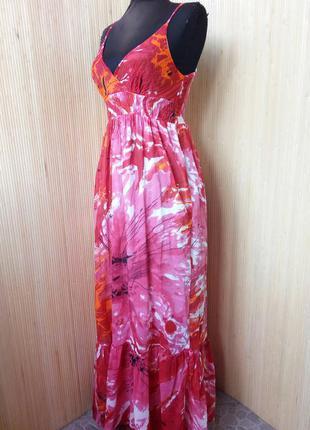 Летнее длинное платье сарафан тонкий хлопок2