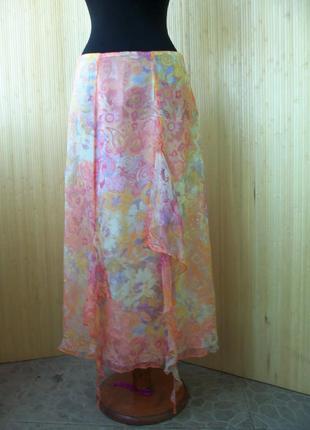 Летящая юбка натуральный шелк с поясом резинкой paul brail