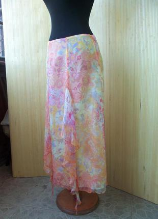 Летящая юбка натуральный шелк с поясом резинкой paul brail2