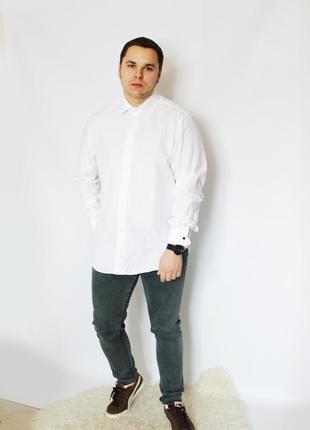 Эксклюзивная универсальная белая рубашка massimo dutti  под запонки