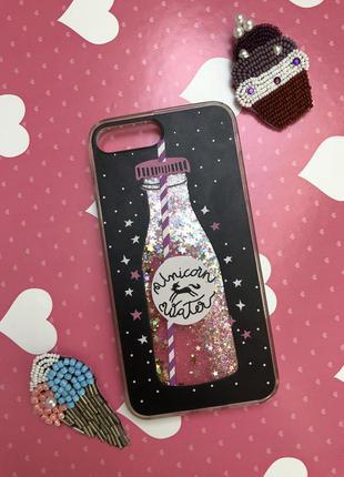 Чехол бутылка воды с блестками модный iphone 7 plus 8 plus айфон 7+ 8+