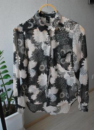 Шифоновая рубашка h&m цветочный принт