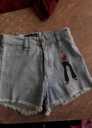 Джинсовые шорты с высокой талией для девочек