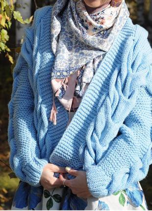Вязаный женский объёмный бомбер кардиган пальто косы кофта крупная вязка