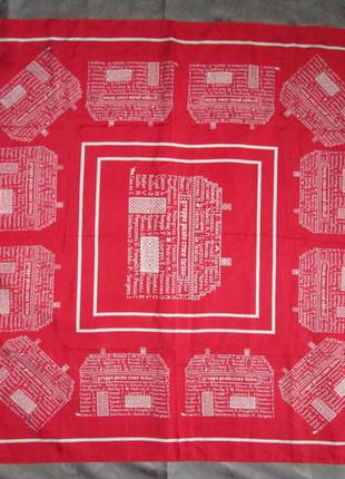 Красный шелковый платок косынка 100% шелк италия