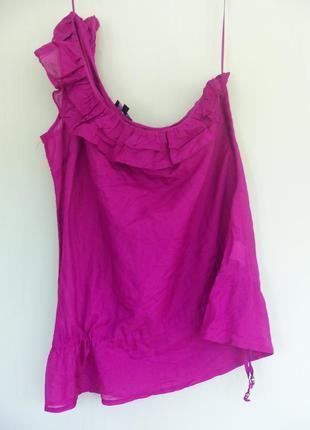 Тончайшая блуза хлопок  шелк с баской на одно плечо с кулиской