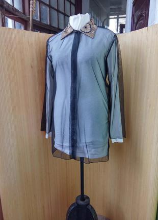 Стильная блуза сеточка с красивым воротником