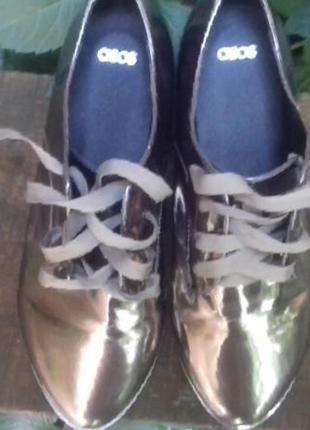Туфли asos оксфорды броги серебристые 36р.