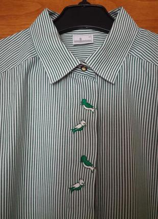Рубашка в полоску с вышивкой с широким рукавом over size wallmann (австрия)