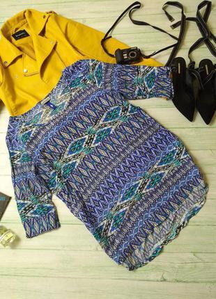 Блуза синяя вискоза принт