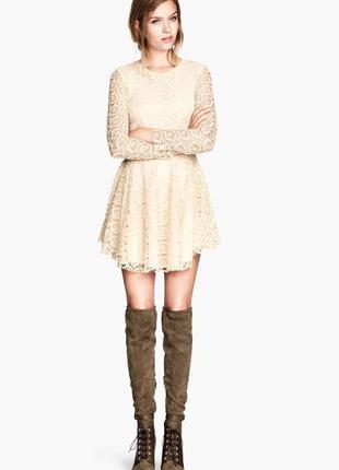 Кружевное платье h&m пудрового цвета