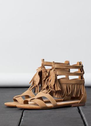 Кожаные замшевые босоножки сандалии гладиаторы bershka