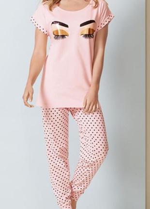 Стильная пудровая пижама в горошек от avon 423d42dfdf6df