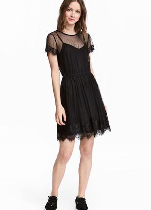 Фатиновое черное миди платье двойка h&m