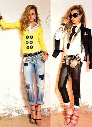 Крутые кожаные брюки dsquared2