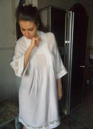 Стильное дизайнрское платье в стиле манго. широкие рукава. крестьянский стиль