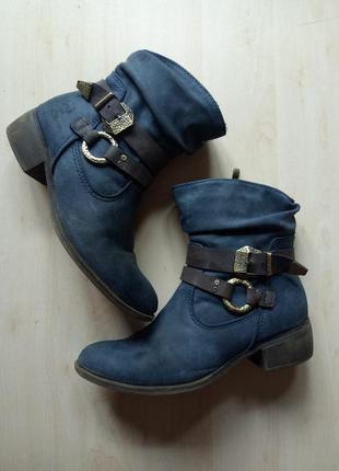 Ботинки демисезонные осенние сапоги утепленные ковбойские с пряжками 27,5 см стелька
